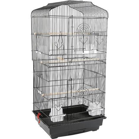 Grande Volière pour Oiseaux Cage en Méta pour Canaries Perroquet Perruches Canaris avec 4 Mangeoires, 3 Perchoirs, 92cm, Noir - Noir