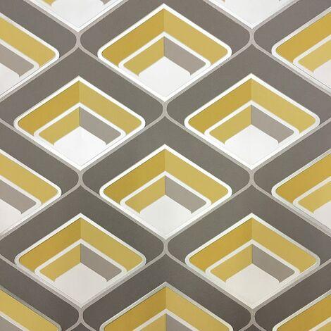 Grandeco - Geo In Yellow - Geometric 3D Effect - Retro Textured Wallpaper A16001