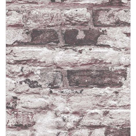Grandeco Infinity Red White Brick Wallpaper