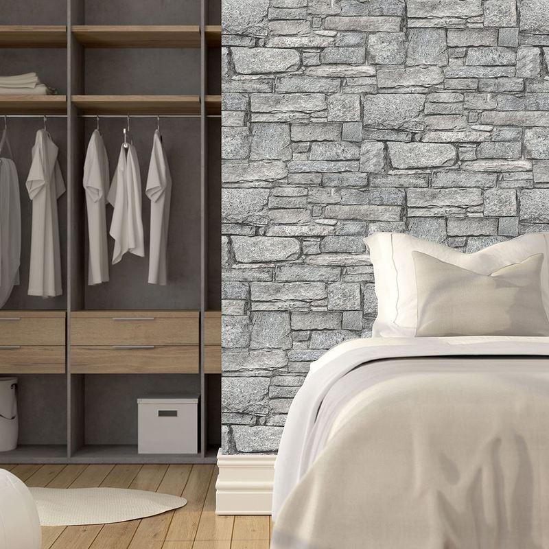 Image of Chalet Stone Grey Wallpaper Brick Effect Non Woven Textured Vinyl - Grandeco Life