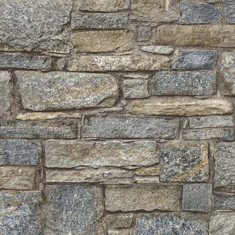Image of Chalet Stone Navy Wallpaper Brick Effect Non Woven Textured Vinyl - Grandeco Life