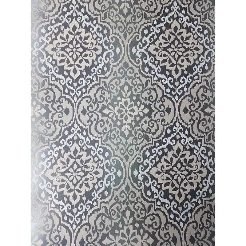 Image of Black Glitter Damask Wallpaper Sparkle Retro Grey Textured Grandeco Delphi