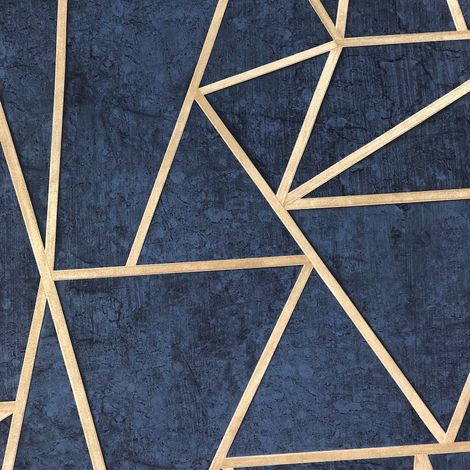 Grandeco Life Exposure Blue Gold Geometric Wallpaper