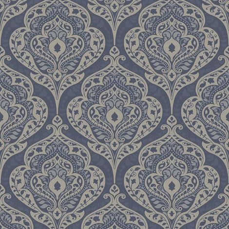 Grandeco Life Wallpaper Boheme Damask Navy A36503