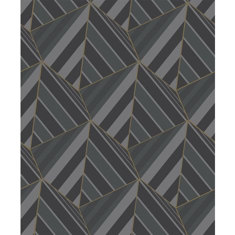 Grandeco Prism Black Wallpaper