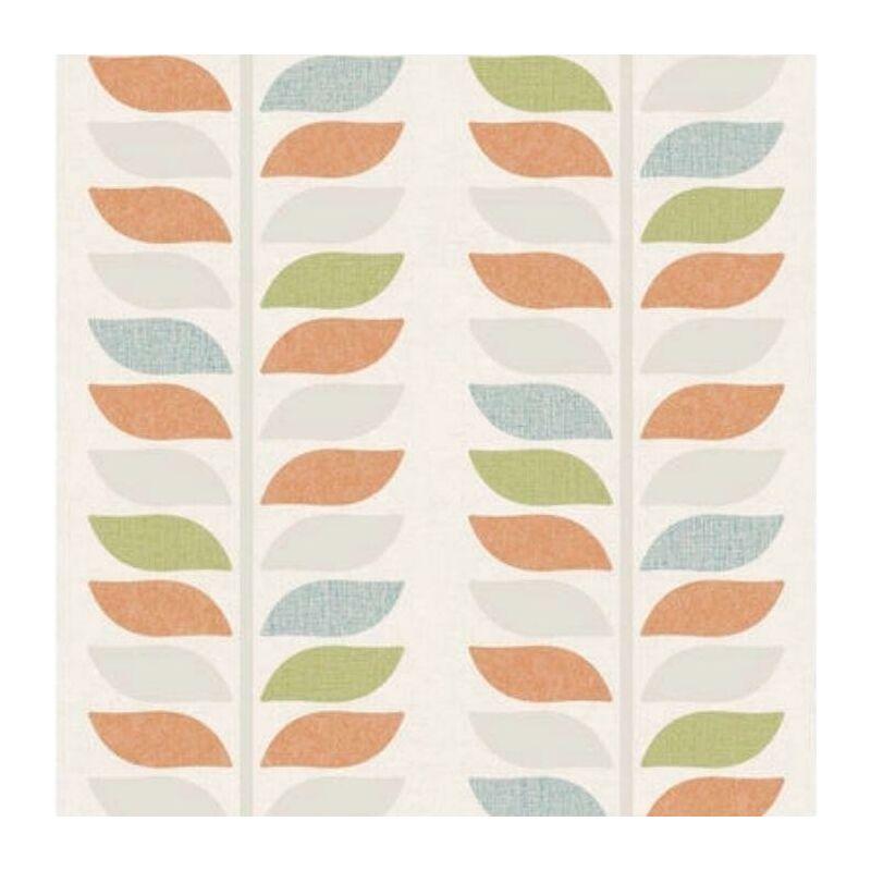 Image of Vinyl Modern Tree Leaf's Striped Wallpaper Textured Finish Multicoloured
