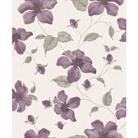 Grandeco Wallpaper Magnolia Purple A44403