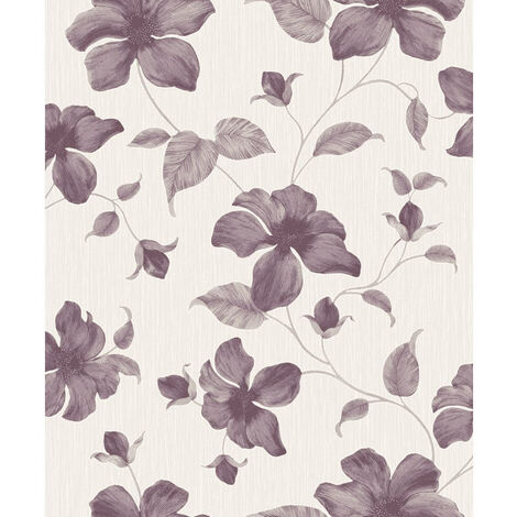 Grandeco Wallpaper Magnolia Purple A44403
