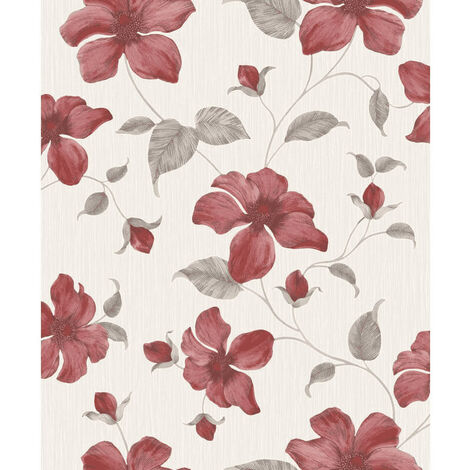 Grandeco Wallpaper Magnolia Red A44402