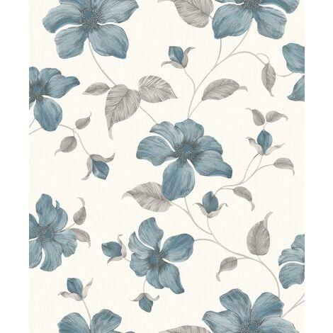 Grandeco Wallpaper Magnolia Teal A44404