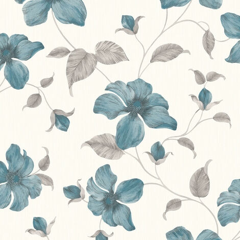 Grandeco Wallpaper Magnolia Teal A44404
