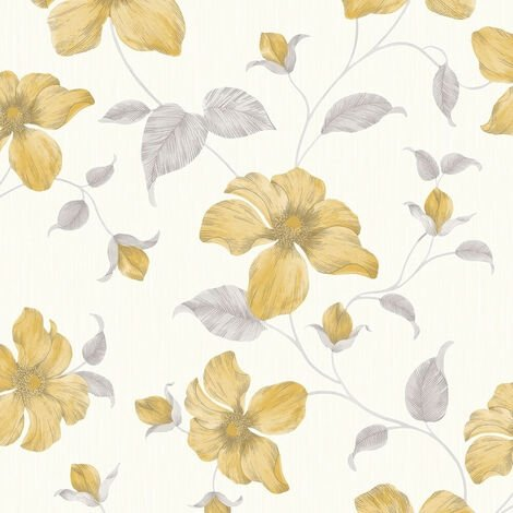Grandeco Wallpaper Magnolia Yellow A44401