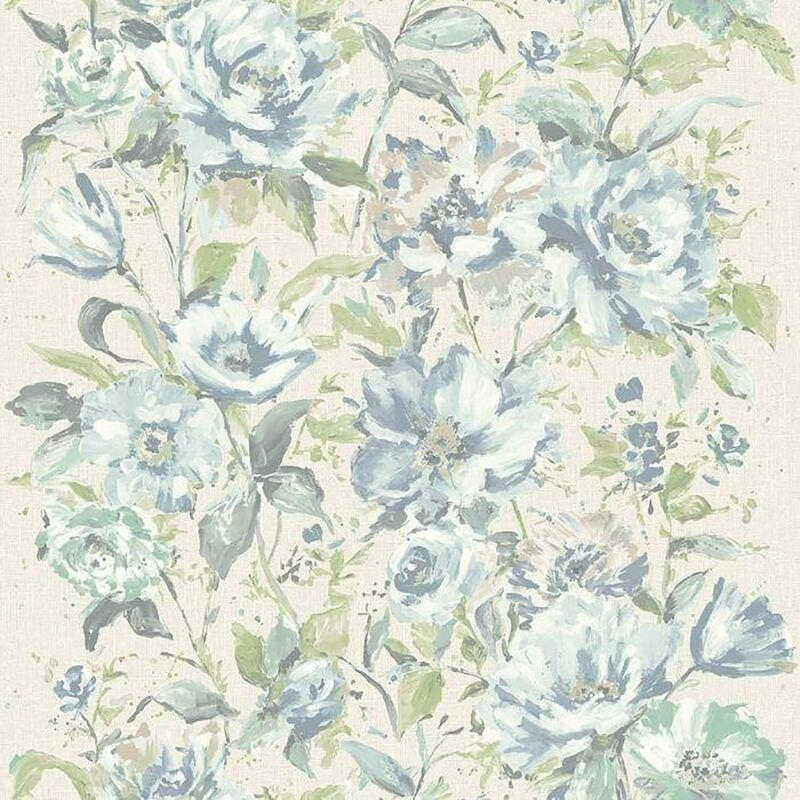 Image of Flore Water Colour Floral Soft Green Wallpaper Texured Vinyl - Grandecor