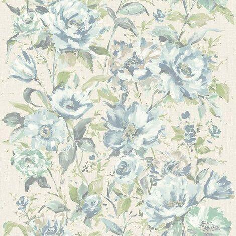 Grandecor Flore Water Colour Floral Soft Green Wallpaper Texured Vinyl