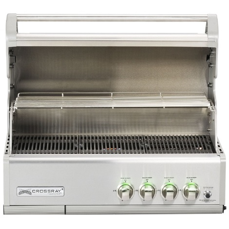 GrandHall - Barbecue à gaz encastrable gris inox 91x50,5x56cm - CROSSRAY 4B Inox Built in
