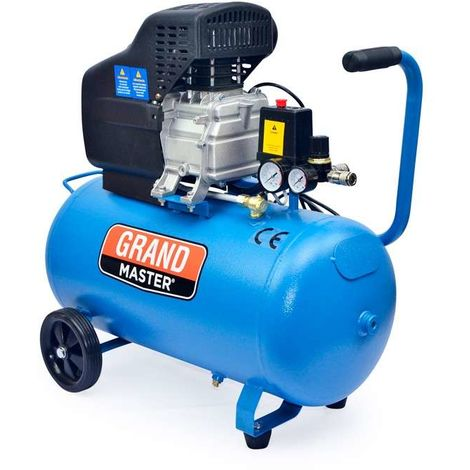 Grandmaster - Air Compressor 50 Litre 220V, 206l/Min, 1500W, 8 Bares/116psi, Air Filter, Velocity 2850/Min, Silent Compressor 92 Db, Security Valve