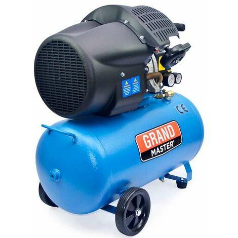 Grandmaster - Compresor de Aire 100 Litros 220V, Dos Cilindros 356L/min, 2200W/3cv, 8 Bares/116psi, Filtro de Aire, Velocidad 2850/min, Compresor Silencioso 72/94 dB, Válvula de Seguridad