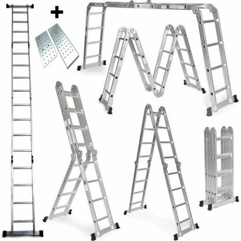 Grandmaster - Escalera De Aluminio Plegable 575cm, Escalera Multifuncional 6 En 1, Plataforma Incluida, Carga Máxima 150kg, Diseño Antideslizante, Tamaño Plegado 149x35x28cm