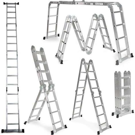 Grandmaster - Multi-Purpose Aluminium Ladder 475CM, Multifunctional Ladder 6 in 1, Max Load 150kg, Anti Slip Design, Folded Size 126x63x27cm
