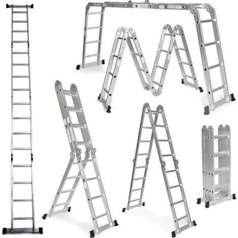 Grandmaster - Multi-Purpose Aluminium Ladder 575CM, Multifunctional Ladder 6 in 1, Max Load 150kg, Anti Slip Design, Folded Size 149x35x29cm