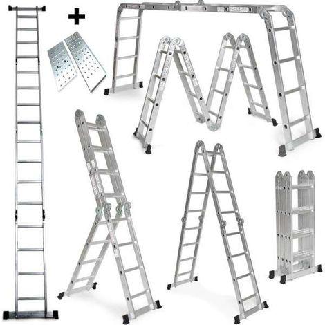 Grandmaster - Multi-Purpose Aluminium Ladder 575CM, Multifunctional Ladder 6 in 1, Max Load 150kg, Anti Slip Design, Folded Size 149x35x29cm, Platform Included