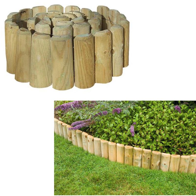 New 5PCS Log Panel Lawn Edging Wooden Border Garden Patio Yard 120 x 35 cm UK