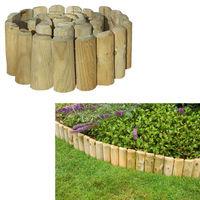"Grange 17"" Log Roll Border Edging Roll Garden Lawn Fence Wooden Outdoor Essential"