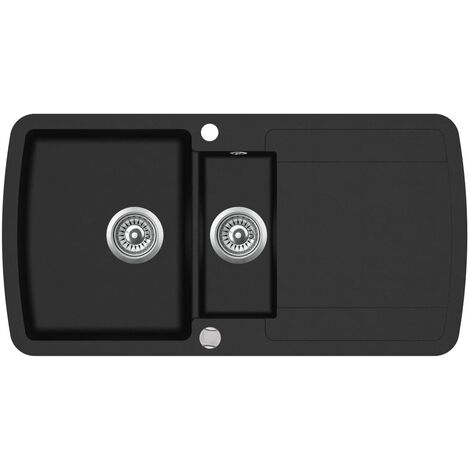 Granite Kitchen Sink Double Basin Black