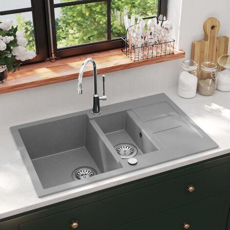 Granite Kitchen Sink Double Basin Grey - Grey