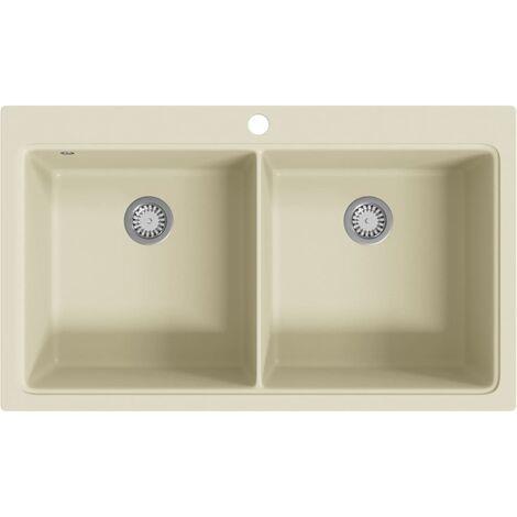Granite Kitchen Sink Double Basins Beige