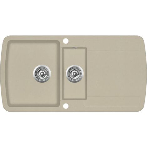 Granite Kitchen Sink Double Basins Beige