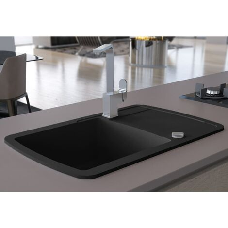 Granite Kitchen Sink Single Basin Black - Black