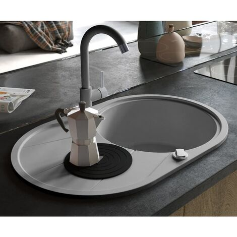 Granite Kitchen Sink Single Basin Oval Grey