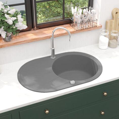 Granite Kitchen Sink Single Basin Oval Grey - Grey