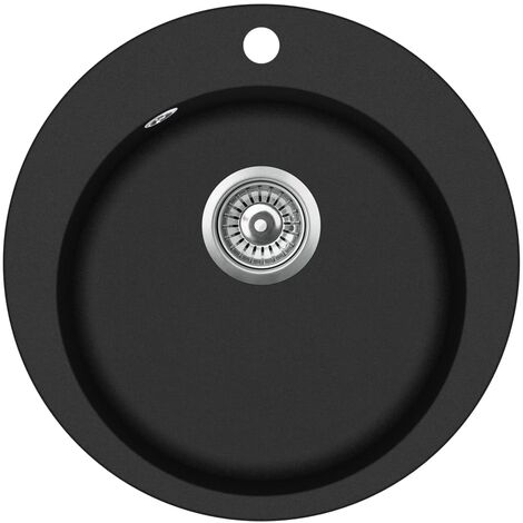 Granite Kitchen Sink Single Basin Round Black