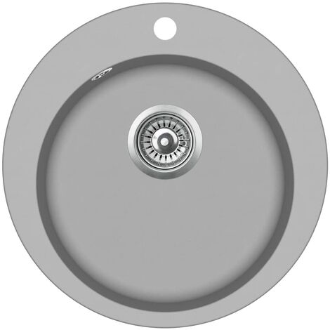 Granite Kitchen Sink Single Basin Round Grey