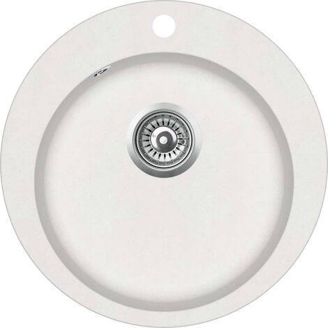Granite Kitchen Sink Single Basin Round White