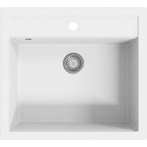 Granite Kitchen Sink Single Basin White - White