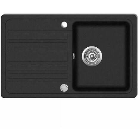 Granite Kitchen Sink Single Basin with Drainer Reversible Black VDTD04091