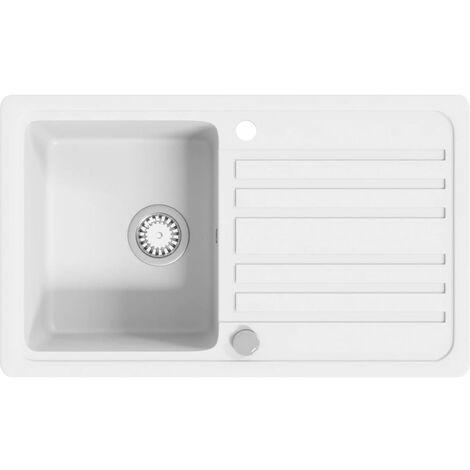 Granite Kitchen Sink Single Basin with Drainer Reversible Cream White - Cream