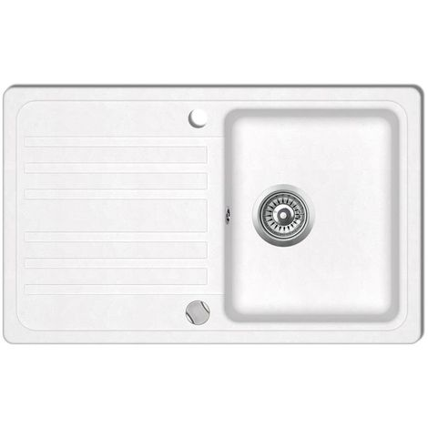 Granite Kitchen Sink Single Basin with Drainer Reversible Cream White VD04093