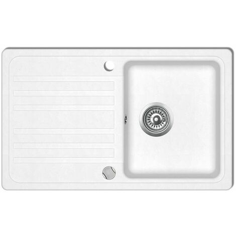 Granite Kitchen Sink Single Basin with Drainer Reversible Cream White VDTD04093