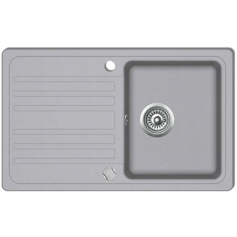 Granite Kitchen Sink Single Basin with Drainer Reversible Grey