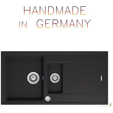 Granitspüle Granit schwarz 60er Einbauspüle Küchenspüle Spülbecken  Drehexcenter