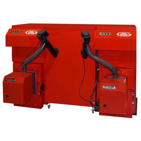 Grant Spira 15 -62kW Dual Wood Pallet Condensing Boilers 97% Efficiency C/W 140kg Dual Hopper & Feed Augers MCS approved
