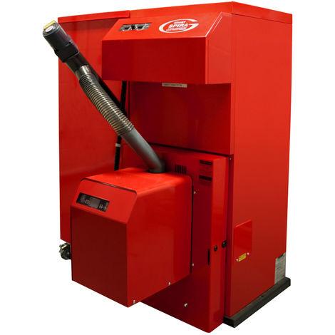 Grant Spira 36 kW Wood Pellet Boiler Biomass Condensing 97% Efficiency C/W 200Kg Left Hand Single Hopper & Feed Auger