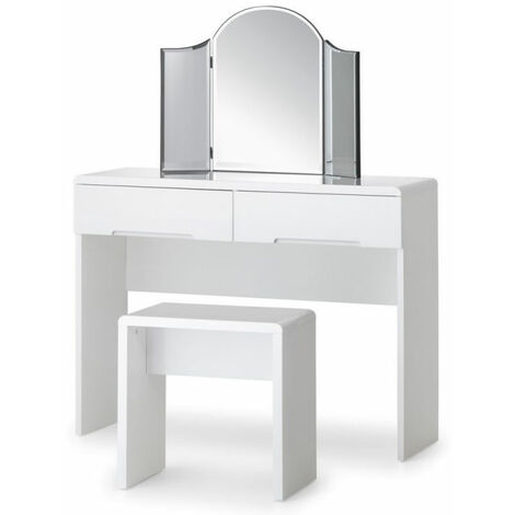 Grant White High Gloss Dressing Table With 2 Drawers White