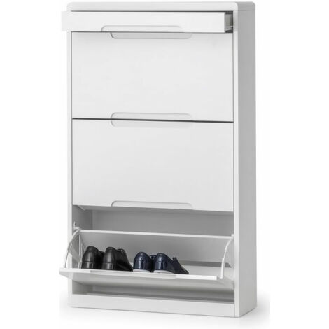 Grant White High Gloss Shoe Cabinet With Drawer
