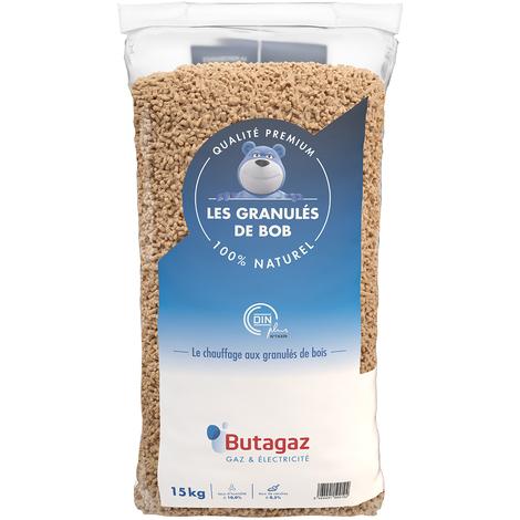 Granulés de Bois Butagaz qualité Premium certifié Din Plus - Palette de 66 sacs de 15kg (1 Tonne env.)