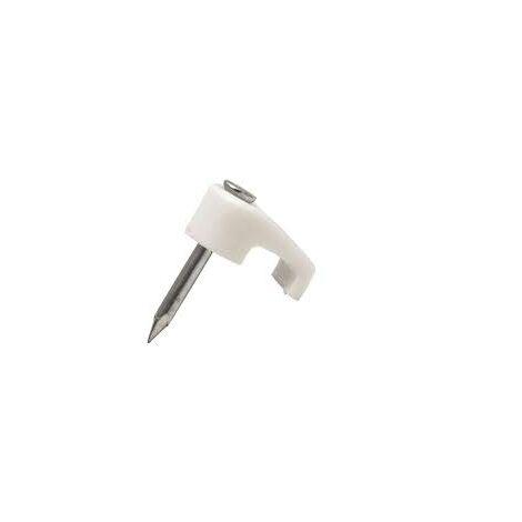 Grapa con clavo Cable Plano Medida mm:7,3 x 4,1 Modelo:Plano Color: Blanco Caja de 100 unidades